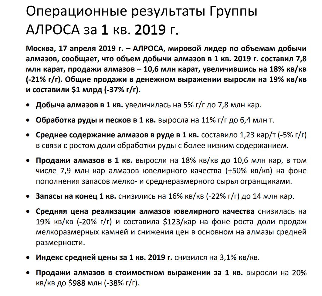Алроса операционные результаты за 1 кв. 2019 года.